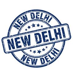 New delhi blue grunge round vintage rubber stamp vector