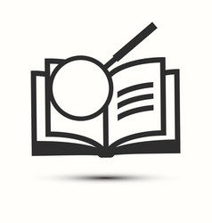 Open book with magnifying glass icon vector