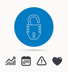 open lock icon padlock or protection sign vector image