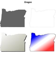 Oregon outline map set vector