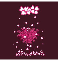 Original valentine tree under heart rain vector