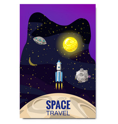 outline outer space rocket space travel vector image