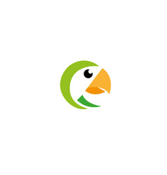 parrot bird head with yellow beak logo vector image