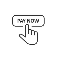 Pay now icon in flat style finger cursor on white vector