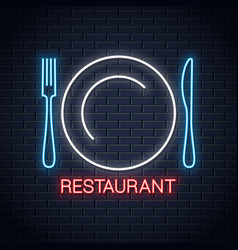 plate with fork and knife neon sign restaurant vector image