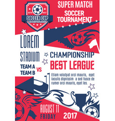 poster for football or soccer league game vector image
