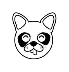 Raccoon face animal outline vector