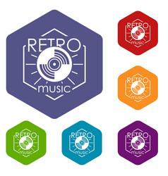 Retro music icons hexahedron vector
