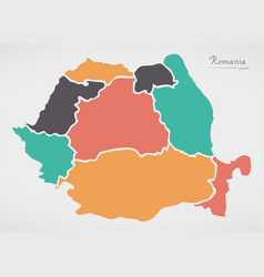 romania map with states and modern round shapes vector image