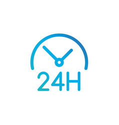 round clock icon 24 hours working linear vector image