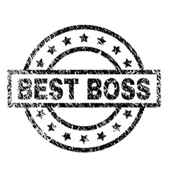 Scratched textured best boss stamp seal vector