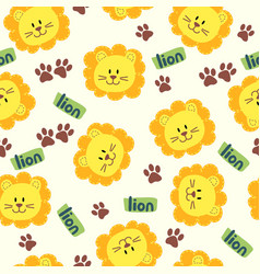 Seamless cartoon texture with lion and steps vector