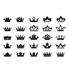 Set king crowns icons on white background vector
