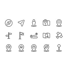 Set maps and location line icons vector