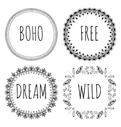 Set of Boho Style Frames and hand drawn elements vector image