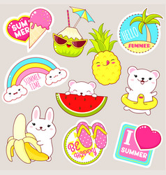 set of cute summer stickers in kawaii style vector image