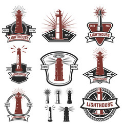 Set of the badges with lighthouses design vector