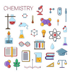 set scientific chemistry flat icons vector image