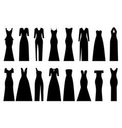 set silhouettes evening dresses vector image