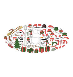 snowman constructor elements set for designing vector image