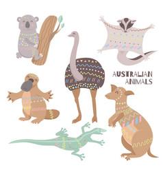 stylized australian animals isolated on white vector image