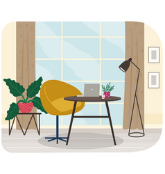 table with laptop and chair at place for working vector image