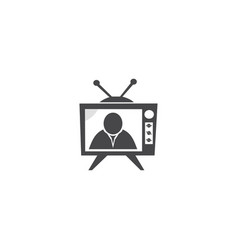 Television news person and white screen vector
