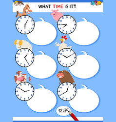 Telling time educational task with farm animals vector