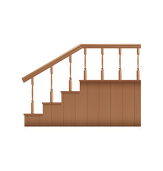 Template wooden stairs with handrails realistic vector