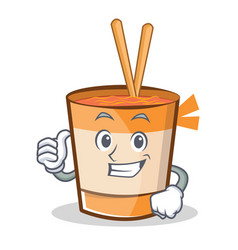 Thumbs up cup noodles character cartoon vector