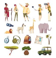 travel safari african wildlife adventure elements vector image