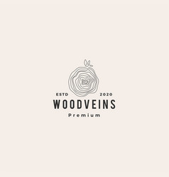 tree wood veins logo icon hipster retro vintage vector image