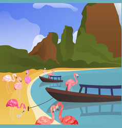 tropical flamingo background summer time banner vector image