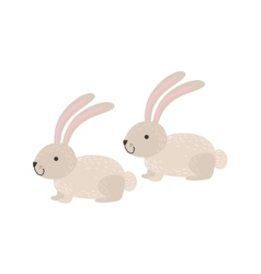 Two White Bunnies Sitting vector