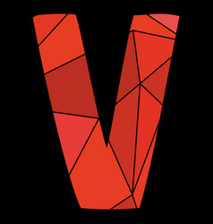 V red alphabet letter isolated on black background vector
