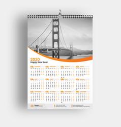 Wall calendar 2020 vector