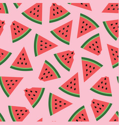 Watermelon seamless pattern on pink background vector