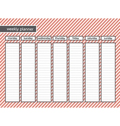 Weekly planner stripe pink color vector