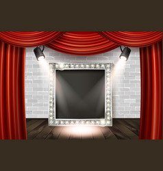 Wooden stage with red curtain vector