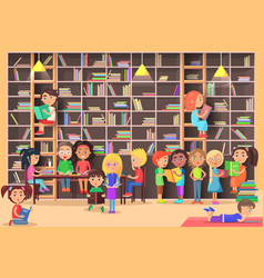 Children read in the library vector