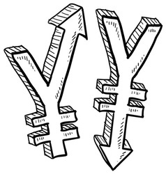 doodle currency up down yen vector image