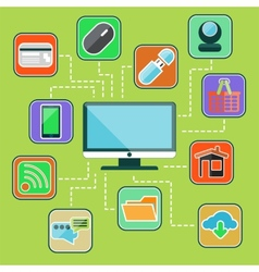 Flat design set with web computer mobile icons vector image vector image