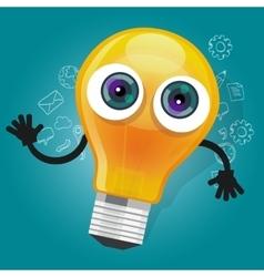 lamp bulb light cartoon character mascot face vector image vector image