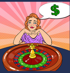 woman behind roulette table dreaming about big win vector image