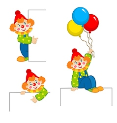 clown peeking behind placard vector image vector image