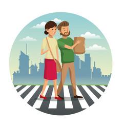 couple walking street shopping bag urban vector image vector image
