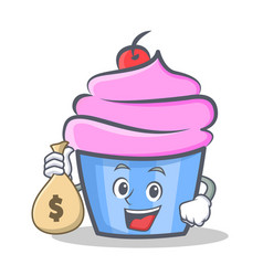 Cupcake character cartoon style with money bag vector