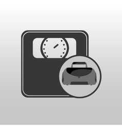 Fitness sport bag icon weight scale vector