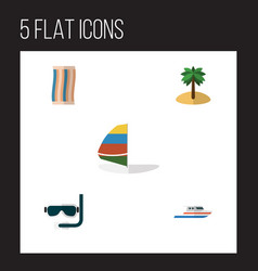 Flat season set of boat wiper surfing and other vector