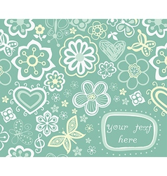Floral background summer theme greeting card vector image